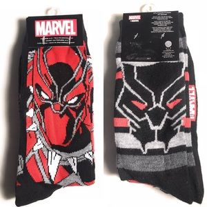 🌟Marvel BLACK PANTHER socks. Red & Black Sz 6-12